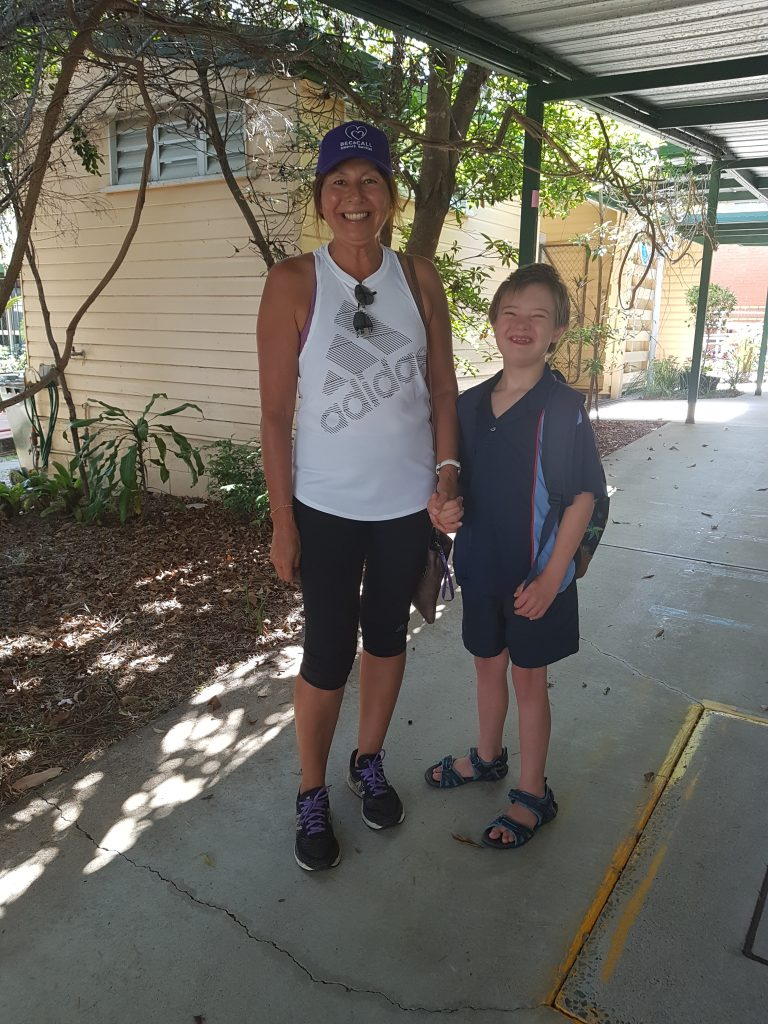 bec with boy at school pick up