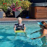 ladies doing swimming pool rehab