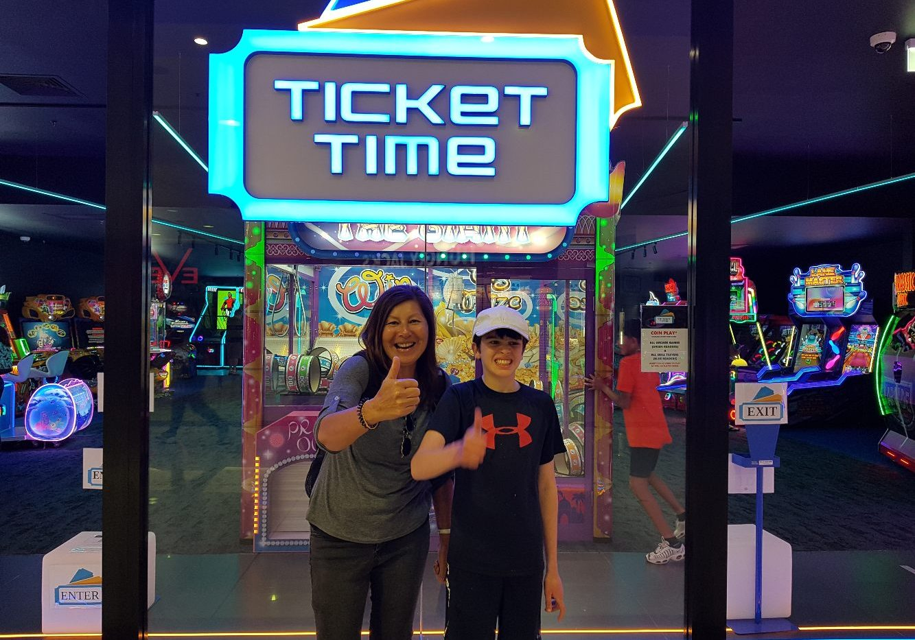 bec and boy having fun and exercising at ticket time