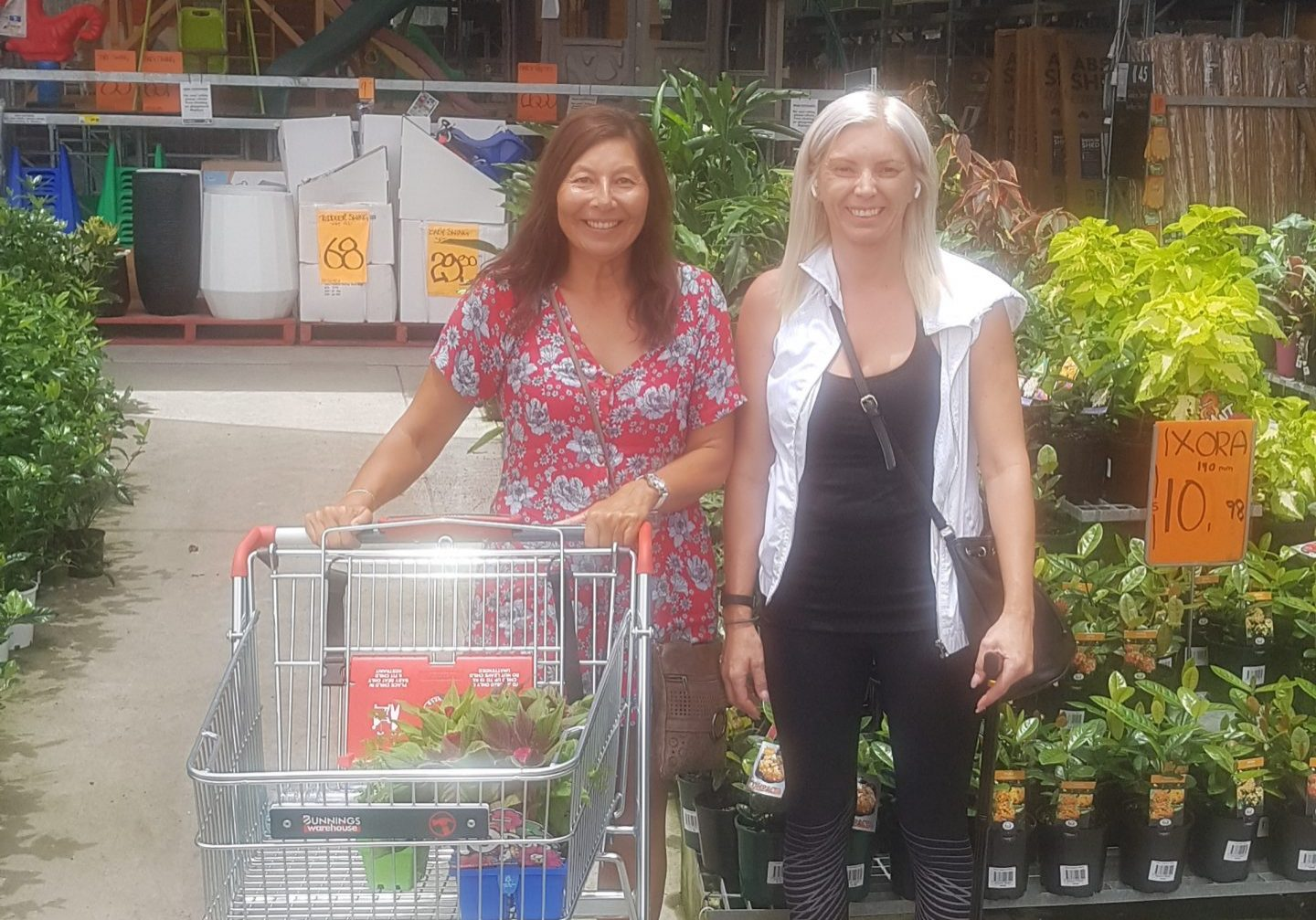 Bec and lady shopping at supermarket